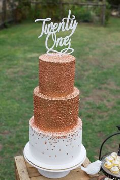 Rustic Gold and Bronze 21st Birthday Party with Such Great Ideas via Kara's Party Ideas | Cake, decor, cupcakes, games and more! KarasPartyI...: