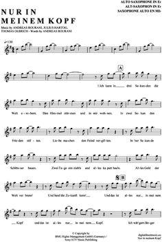 Nur in meinem Kopf (Alt-Sax) Andreas Bourani [PDF Noten] >>> KLICK auf die Noten um Reinzuhören <<< Noten und Playback zum Download für verschiedene Instrumente bei notendownload Blockflöte, Querflöte, Gesang, Keyboard, Klavier, Klarinette, Saxophon, Trompete, Posaune, Violine, Violoncello, E-Bass, und andere ...