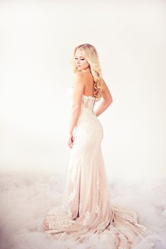 SAMPLE SALE/ Mermaid Beaded Lace Wedding Dress With illusion Back (Style # IngaLisa PB109)