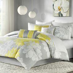Neon yellow and grey :) Modern Comforter Sets, Queen Size Comforter Sets, King Size Comforters, King Size Duvet Covers, Duvet Sets, Duvet Cover Sets, Twin Comforter, Queen Bedding, Modern Bedding