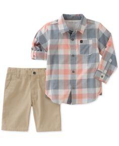 Calvin Klein 2-Pc. Woven Cotton Shirt & Shorts Set, Little Boys - Assorted 6
