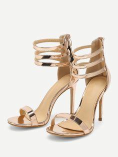 0ebc7b4635ba Elegant Open Toe Strappy Gold High Heel Stiletto Metallic Strappy High Heels  Gold High Heels