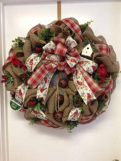 Christmas burlap wreath XXL by DazzlemeWreaths on Etsy, $175.00
