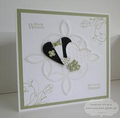 www.rosa-pink-glitzer.de: Karte zur Hochzeit in grün-weiß mit Stampin' Up!