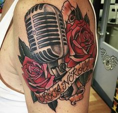 Vintage microphone tattoo