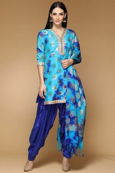 d792a2bf12 Blue Dupion Embroidered Patiala Suit - 2005