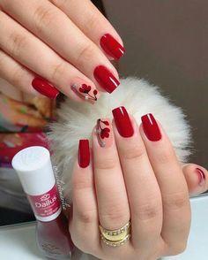 36 Gorgeous Red Nail Art Designs Just For You Shellac Nails, Pink Nails, Nail Polish, Acrylic Nails, Red Manicure, Nail Nail, Red Nail Designs, Acrylic Nail Designs, Cute Nails