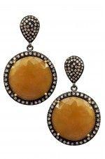 Tribebyamrapali-14k Gold Silver Diamond Sapphire Round Earrings