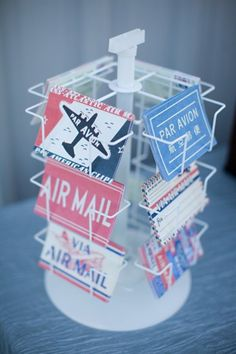 an aviation themed wedding complete with air mail  Photography by http://stephaniefayblog.com