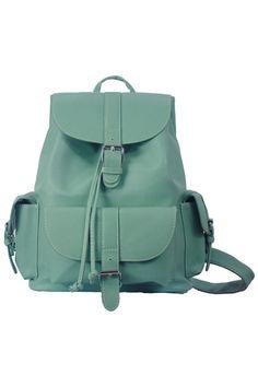 Magnetic Button Multi-pockets Mint Green Backbag #Romwe