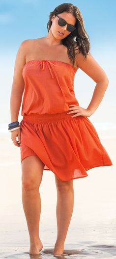 plus size coverups - la redoute - click to read about swimsuit coverups at http://boomerinas.com/2013/03/beach-cover-ups-for-women-plus-size-tunics-dresses-caftans-sarongs/