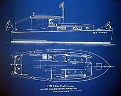 Vintage Chris Craft Boat Yacht 1931 Blueprint Plan 18x24 (006)