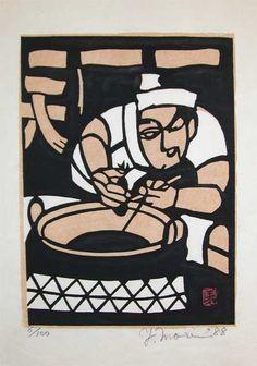 Yoshitoshi Mori Title: Tempura Restaurant Medium: Stencil Print Date: 1988 Stencil Printing, Japanese Illustration, Japanese Aesthetic, Japanese Prints, Illustrations And Posters, Manga, Woodblock Print, Asian Art