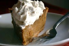 Pumpkin Pie Topped with a Spiced Whipped Cream