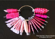 A New Way to Store Ribbon! with ribbon bobbins and metal rings Ribbon Organization, Ribbon Storage, Craft Organization, Classroom Organization, Coin Couture, Craft Room Storage, Storage Ideas, Craft Rooms, Craft Space