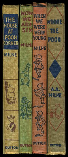 unique long thin framed book spine reproduction wall art, great for room accents. Winnie the Pooh book wall art, made in USA by Museum Outlets