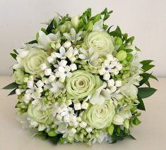 Roses and freesia flowers are the combination that gives this gorgeous green bouquet a wedding-worthy look. Rose Wedding Bouquet, White Wedding Bouquets, Bride Bouquets, Bridal Flowers, Rose Bouquet, Floral Bouquets, Floral Wedding, Freesia Bouquet, Wedding Boquette