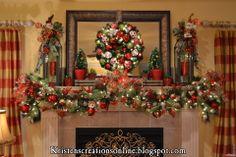 Kristen's Creations: Christmas Mantle 2012--she has adorable traditional Christmas decor.