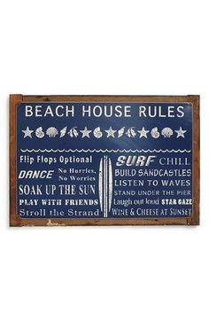 Poncho & Goldstein 'Beach House Rules' Sign - Blue