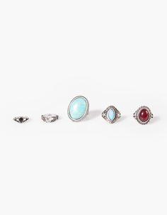 Set of 5 boho rings