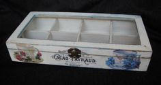White shabby wooden tea box with glass lid and by HandmadeByFiona, $45.00