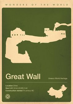 Great Wall, China | Wonders of the world minimalist posters The Great Wall of China The new seven wonders of the world. We offer luxury private package great wall tours  http://www.bestbeijingtours.com pingxin008@aliyun.com +8618601906978