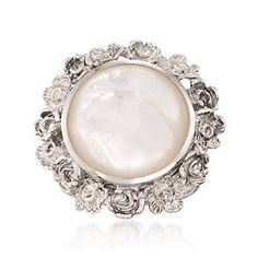 Ross-Simons - Mother-Of-Pearl Flower Ring in Sterling Silver - #817321