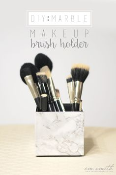 DIY: Marble Makeup Brush Holder. Turn your old watch box into a trendy and…