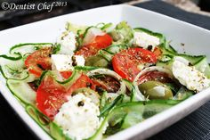Greek Salad Recipe (Cucumber, Olives, Tomato, and Feta Cheese Salad) ala Dentist Chef