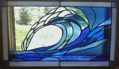 stained glass ocean wave design