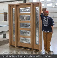 with Sidelights Art Glass & No Stain 5 panels of decorative glass in a real mahogany door Modern Entrance Door, Entrance Doors, Dental Molding, Craftsman Style Doors, Decorative Glass, Beveled Glass, Glass Doors, Exterior Doors, Locker Storage