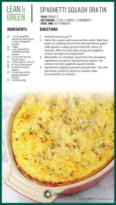 Spaghetti Squash Gratin To make it faster, poke holes in whole squash and microwave until can squish sides of squash. Let cool a few minutes, then cut open and scoop out the seeds. Scrape out squash and separate with fork. Use full fat and make it keto! Medifast Recipes, Diet Recipes, Cooking Recipes, Healthy Recipes, Lean Recipes, Recipies, Diabetic Recipes, Healthy Foods, Healthy Drinks