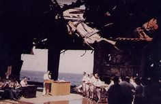 Church service on carrier USS Franklin's ruined hangar deck, in or near New York Harbor, New York, circa 28 Apr 1945. (US National Archives)