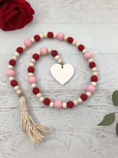 XOXO Scalloped Heart Valentine's Day Painted Farmhouse Wood Bead Tassel Garland - XOXO Scalloped Heart Valentine's Day Painted Farmhouse Wood Bead Tassel Garland - Wood Bead Garland, Tassel Garland, Heart Garland, Valentines Day Decorations, Valentine Day Crafts, Valentine Tree, Mobiles, Fun Craft, Craft Ideas