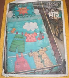 Clothesline baby quilt pattern with sham by JoyOfCrafts on Etsy