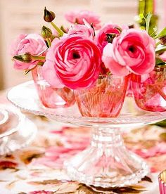 Pretty in pink! Start collecting small vases, bottles and glass jars for when you're ready to repurpose the collected reception flowers. Engaged? Learn more about the Repeat Roses journey + sign up to participate: http://www/repeatroses.com   #ranunculus #weddings #flowers