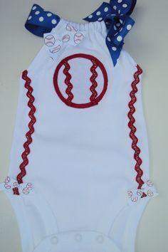 Baby Girls Baseball Romper Onesies. For Your Little baseball Fan. MLB. $24.00, via Etsy.