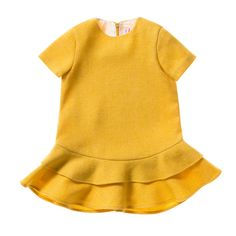 cde6d0a6bf66 Il Gufo udsalg børnetøj Mimosa gul kjole med dobbelt flæse skørt tilbud  børnetøj