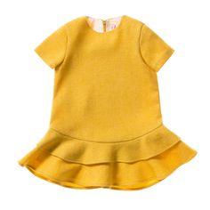 Il Gufo udsalg børnetøj Mimosa gul kjole med dobbelt flæse skørt tilbud børnetøj
