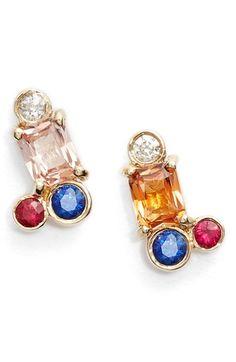 MOCIUN Peach Sapphire Cluster Earrings