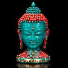 "Turquoise Buddha Bust Statue- Buddha Head Tibetan Nepal Home Decor-9"""