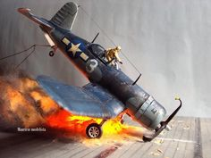 Scale - Vought Crash Landing on a Carrier Deck Tamiya Model Kits, Tamiya Models, Military Action Figures, Model Hobbies, Modelista, Modelos 3d, Military Modelling, Military Diorama, Rc Model