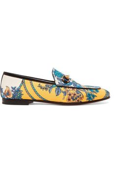 32901760c Gucci Jordaan horsebit-detailed leather-trimmed printed twill loafers - Gucci  Jordaan Loafer -