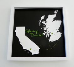 "Love Will Find A Way Framed Map Print. This print is customized to ""heart"" two locations. Perfect for Long Distance Relationships, Overseas Loves, Significant others in the Military. Your print comes"