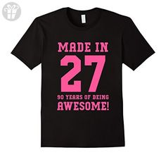 Mens 90th Birthday Gift T-Shirt Made In 1927 Awesome Pink 2XL Black - Birthday shirts (*Amazon Partner-Link)