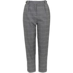 TopShop Check Peg Trousers (€52) via Polyvore featuring pants, trousers, bottoms, grey, topshop pants, topshop, checkered pants, peg trousers and checked pants