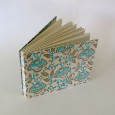 Wedding Guest Book Blue Paisley on Natural by parksideharmony. $50.00, via Etsy.