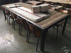 Vintage shopfittings Big old industrial table - Tafels - Industrieel - Burbri