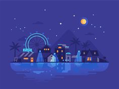 Night designed by Darya Semenova. Flat Design Illustration, Business Illustration, Landscape Illustration, Digital Illustration, Vector Design, Vector Art, Banner Design Inspiration, Minimal Wallpaper, Whatsapp Wallpaper
