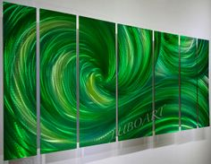 Shiny brilliant 3D effect contemporary art Metal green by luboart, $295.00
